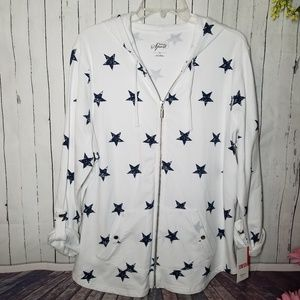 Style & Co Star Print Hoodie Jacket White Navy 1X
